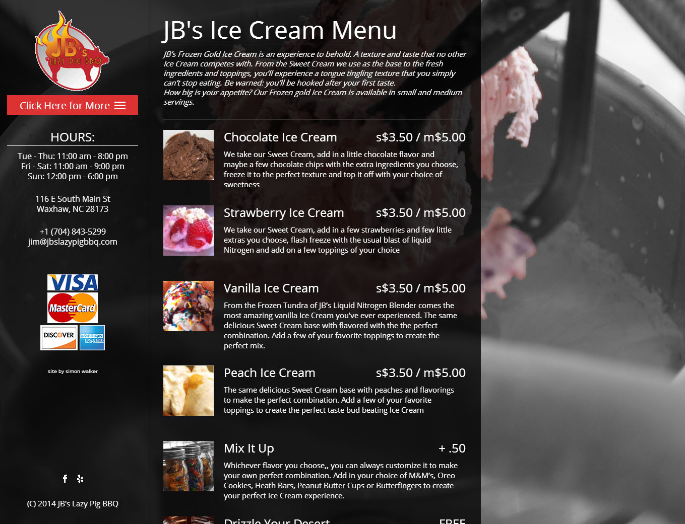 JB's Lazy Pig and Frozen Gold Ice Cream Menu Page
